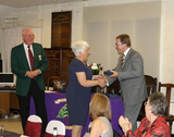 Mark presenting Lady Captain, Mrs Jean Poole, with a special award