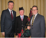 Mike with Scotland Secretary, Michael Moore and Piper Ged Farmworth