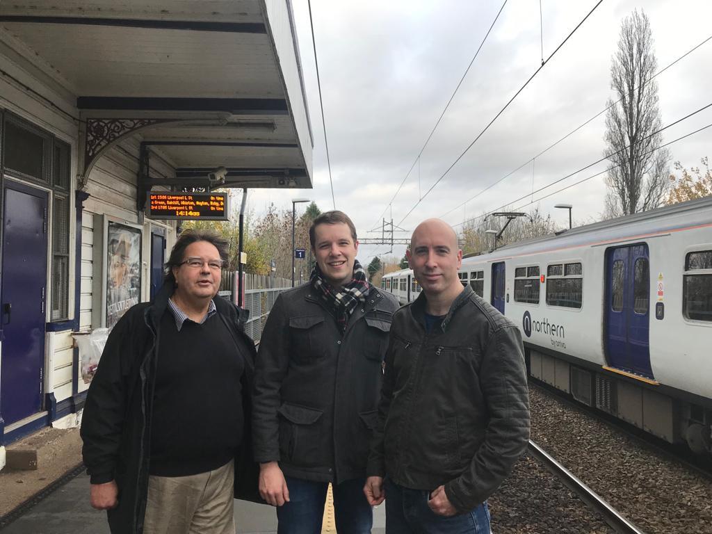 Tom Morrison with Iain Roberts and Graham Greenhalgh at Gatley Rail Station