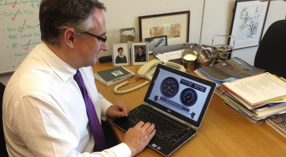 Martin testing his broadband in Parliament