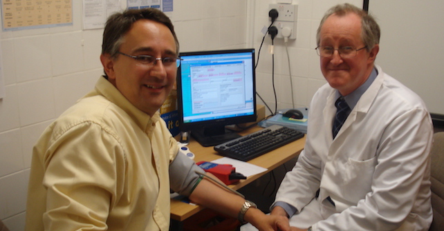 Martin Horwood & Peter Badham testing blood pressure, a community pharmacy service