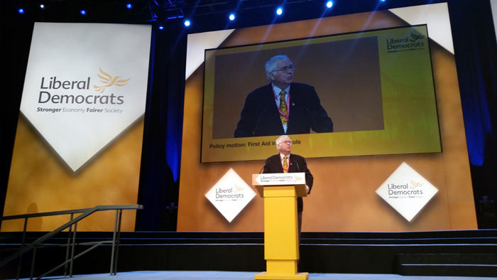 Sir Bob speaking at the Lib Dem conference