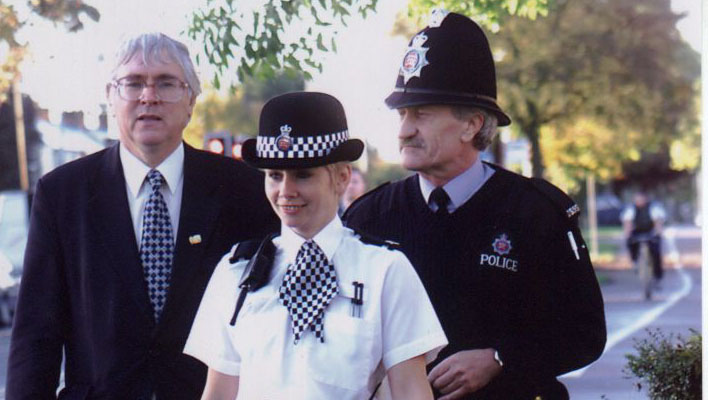 Sir Bob Russell and police officers