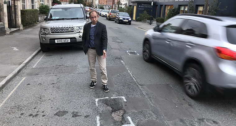 Gary Selwyn calls for urgent resurfacing of roads in Watermoor