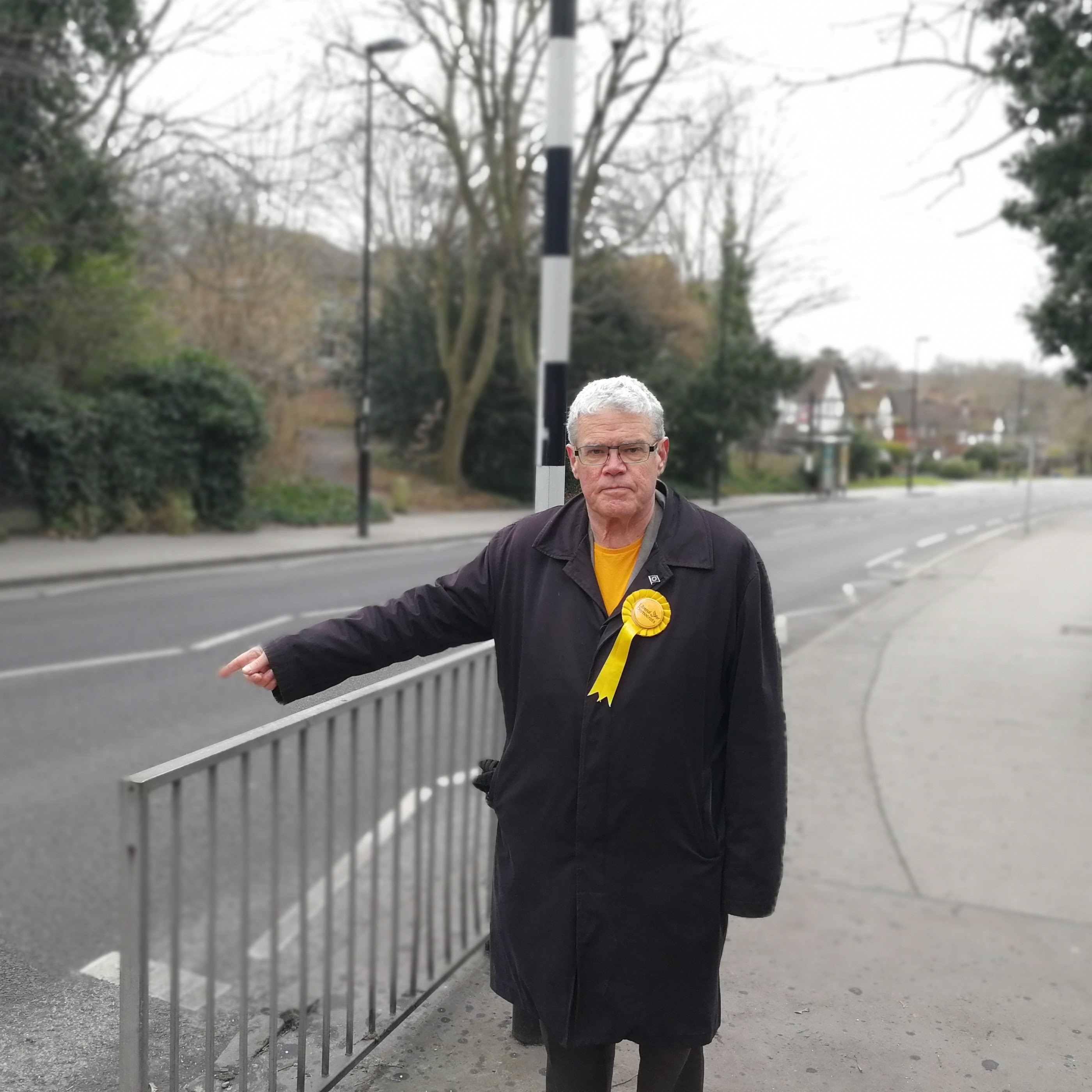 Robert Williams campaigning for safer pedestrian crossings in Park Hill