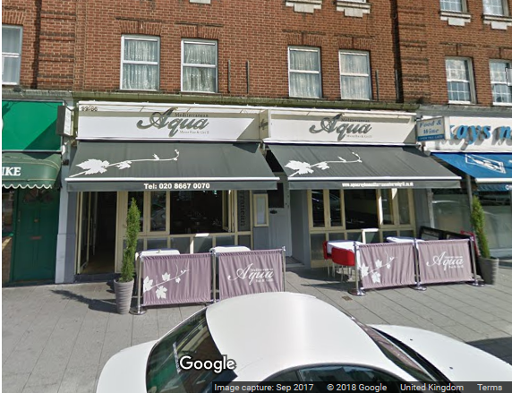 Aqua Meze Bar & Grill in South Croydon - image of restaurant from street courtesy of Google Street View