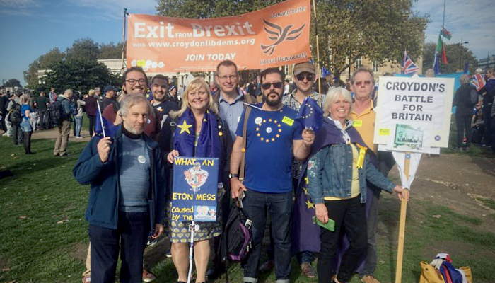 Croydon Lib Dem members and supporters at the People's Vote march