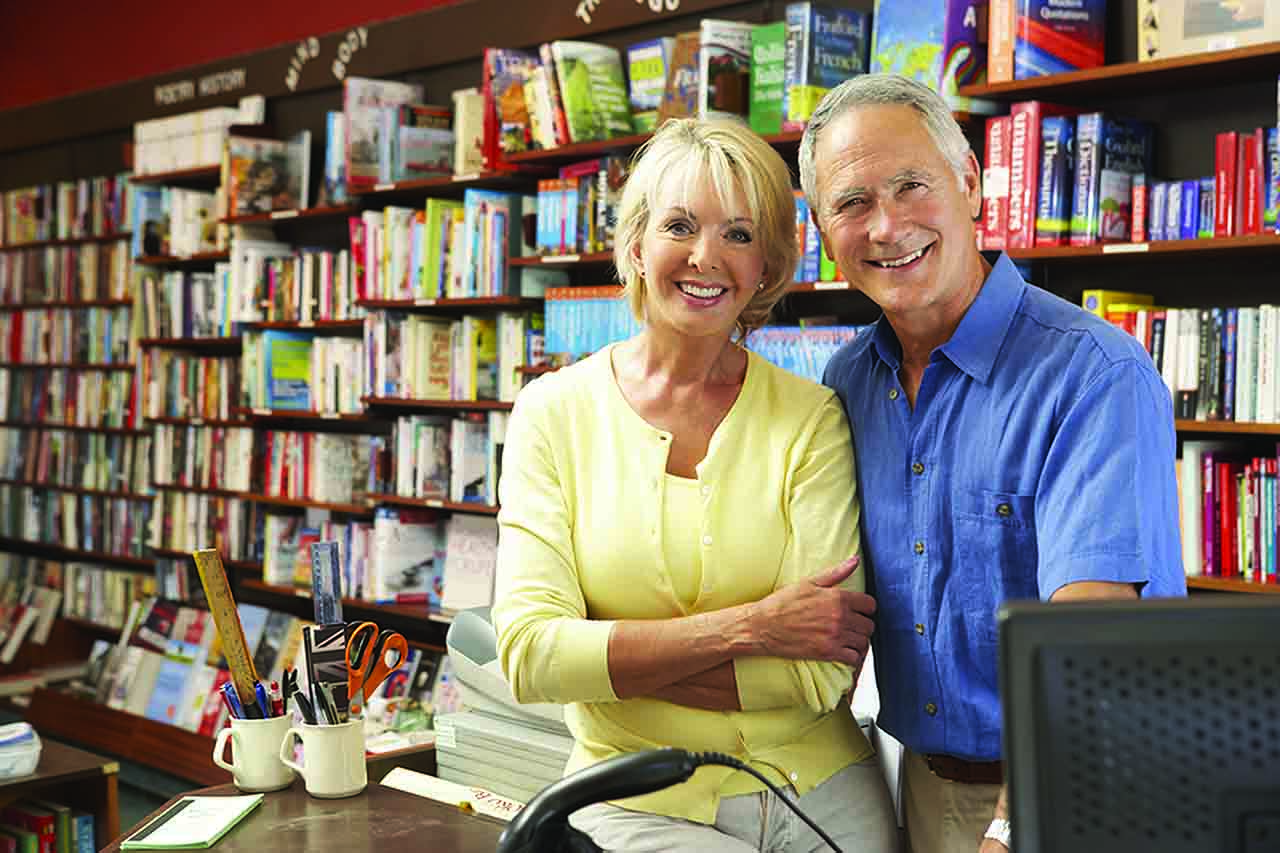 Couple in bookshop