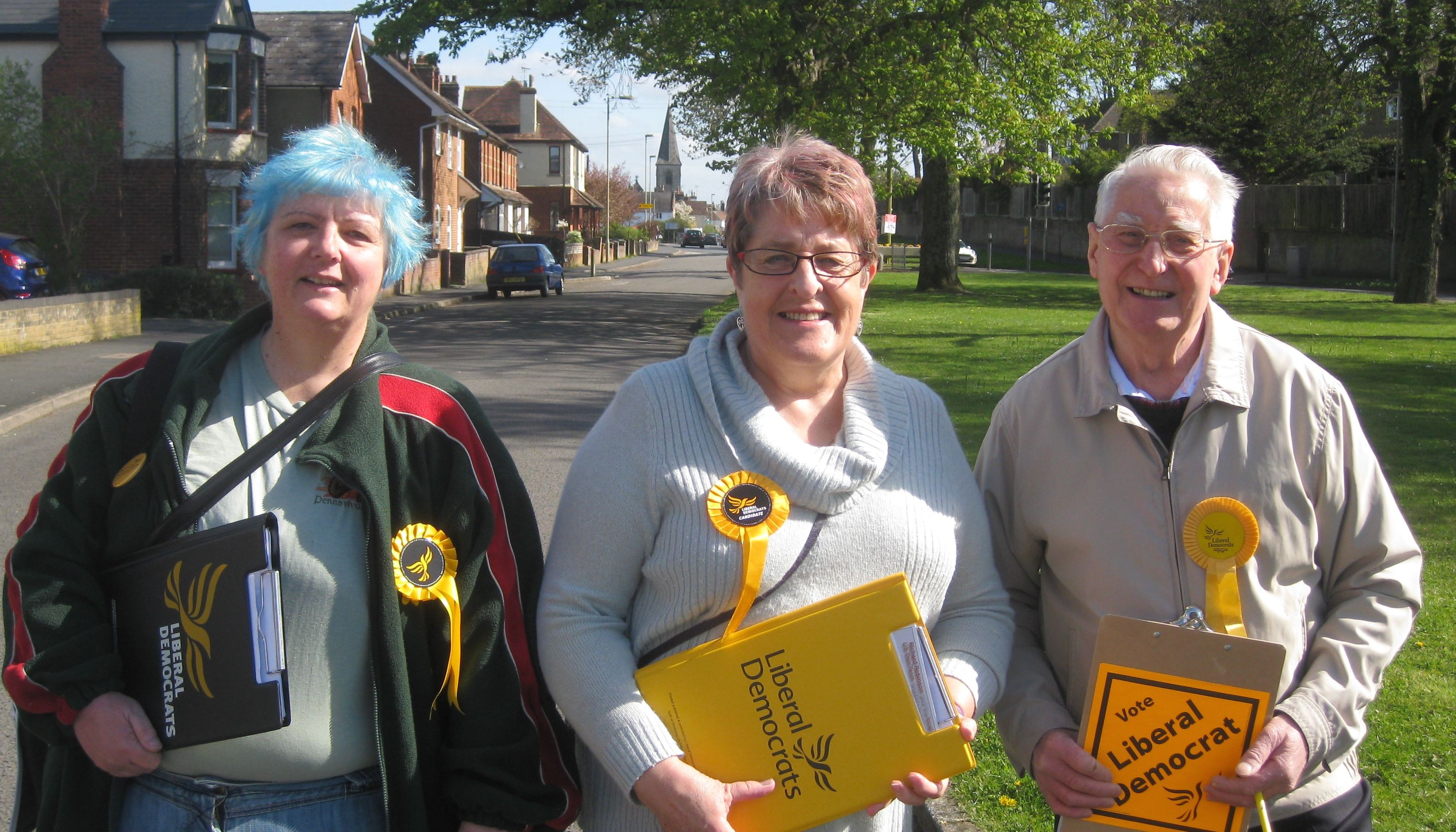 Lib Dem canvassers on the Butts in Alton