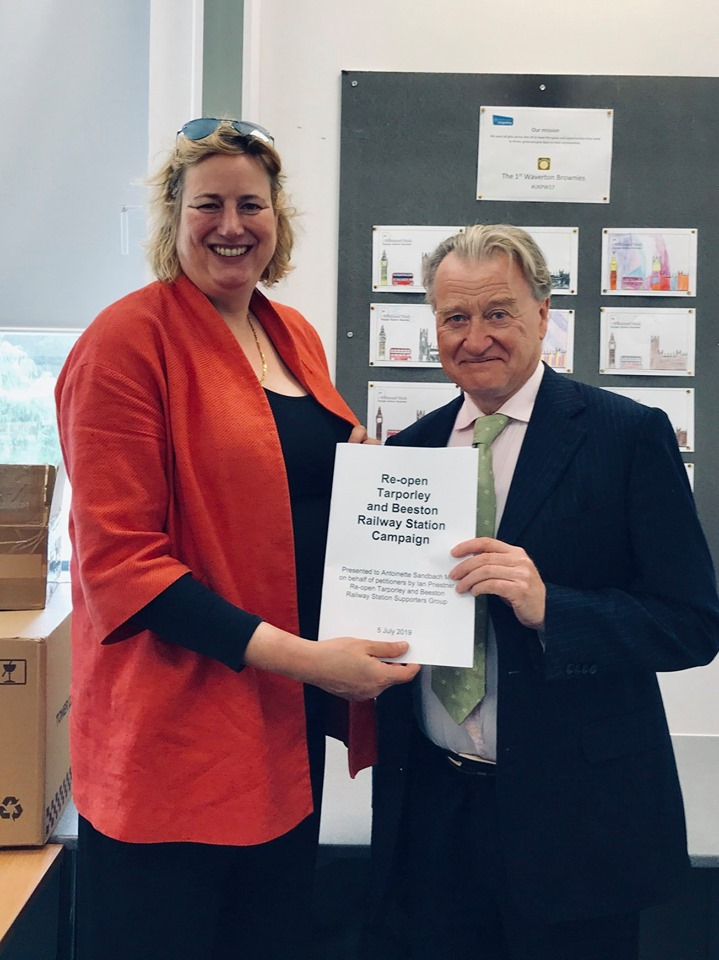 My Petition to re-open Tarporley and Beeston Railway Station presented to Antoinette Sandbach MP