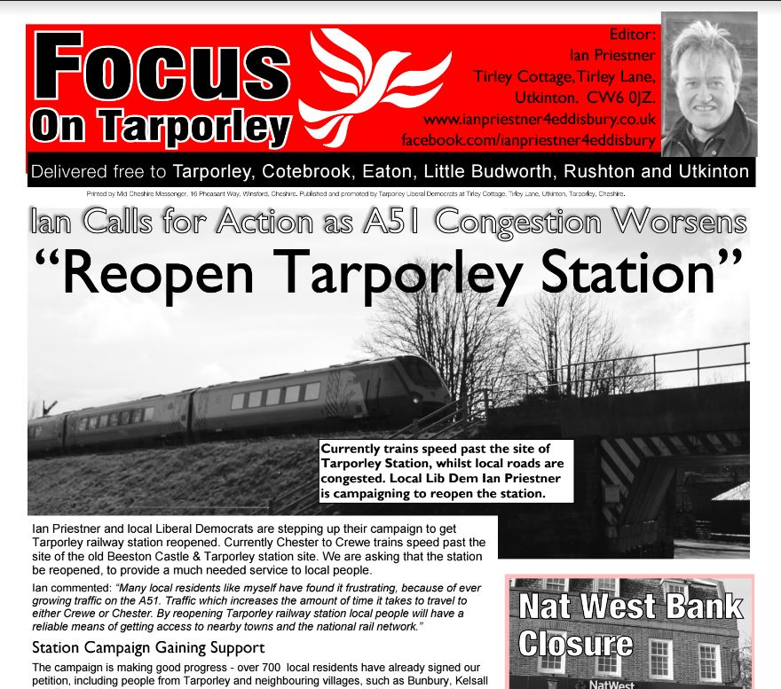 Our New Tarporley Focus Leaflet is out