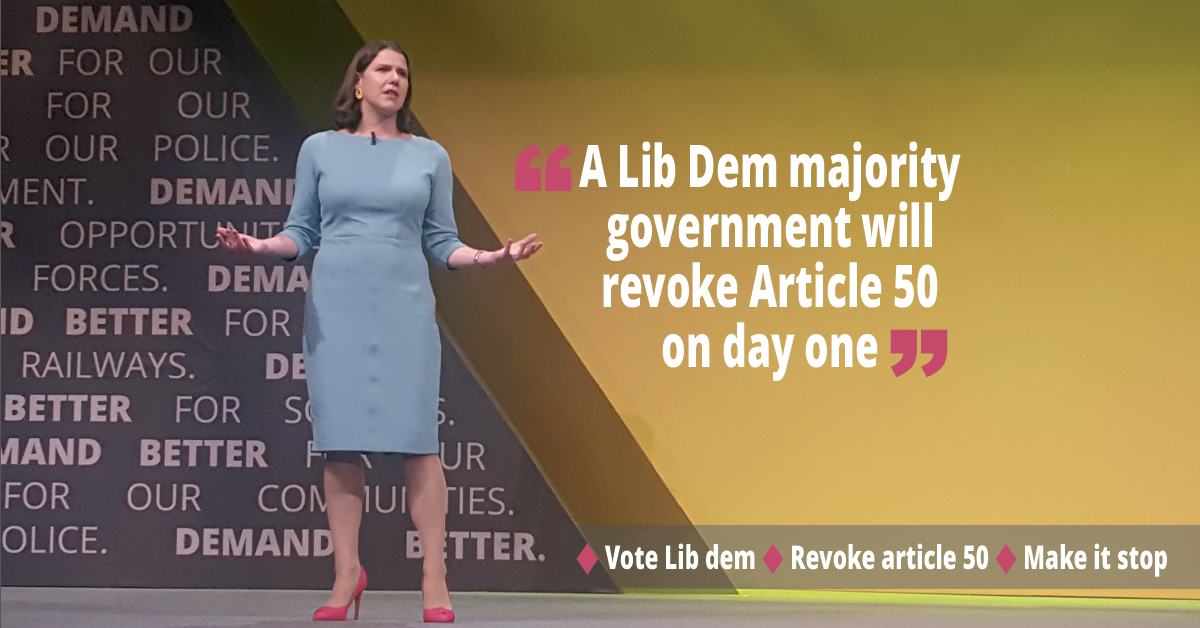 A Lib Dem majority government would Revoke Article 50