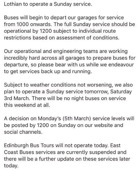 Lothian Buses update