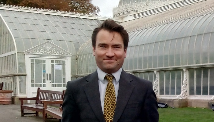 Andrew Chamberlain outside Kibble Palace (Glasgow Botanics)