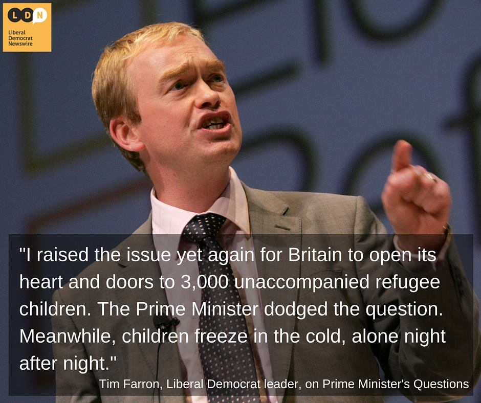 Tim Farron raises plight of child refugees
