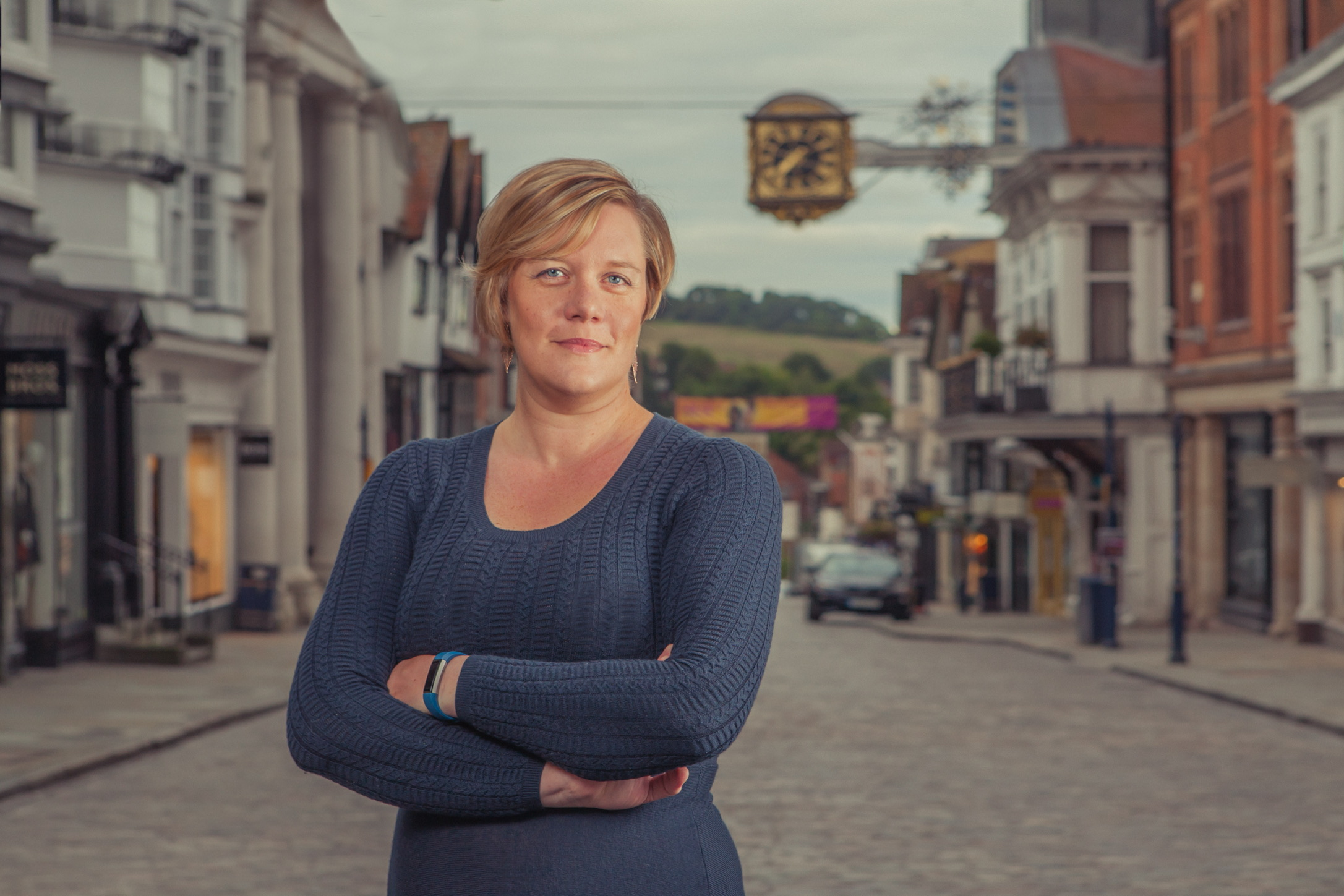 Zöe Franklin photographed standing on Guildford High Street