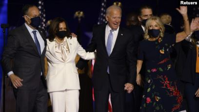 image of kamala harris and joe biden after victory speech
