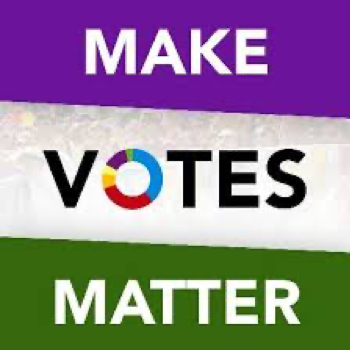 Logo of Make Votes Matter in purple white and green, an organization