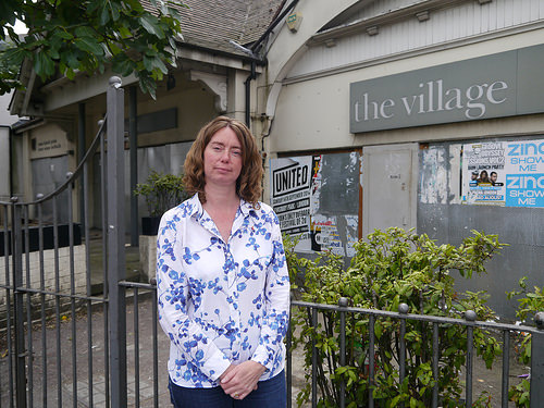 Cllr Pippa Connor outside the Village bar (due to be Wetherspoons soon) on Muswell Hill Broadway