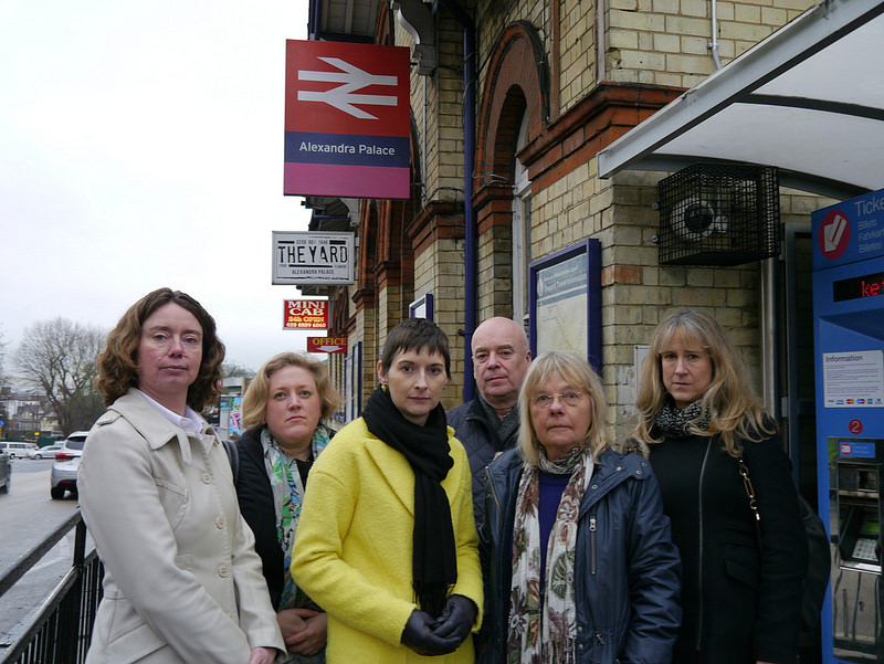 Local Lib Dem campaigners and councillors with Caroline Pidgeon at Alexandra Palace Station