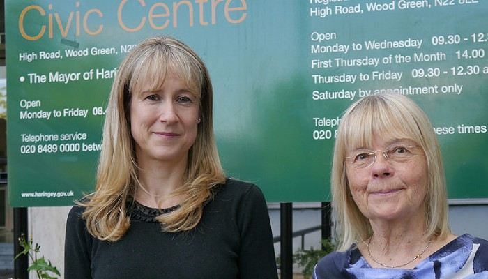 Cllr Liz Morris and Cllr Gail Engetr outside the Civic Centre in Wood Green