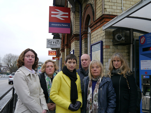 Cllr Pippa Connor, Dawn Barnes GLA candidate, Caroline Pidgeon Lib Dem candidate for Mayor of London, Cllr Dave Beacham, Cllr Gail Engert and Cllr Liz Morris outside Alexandra Palace Station