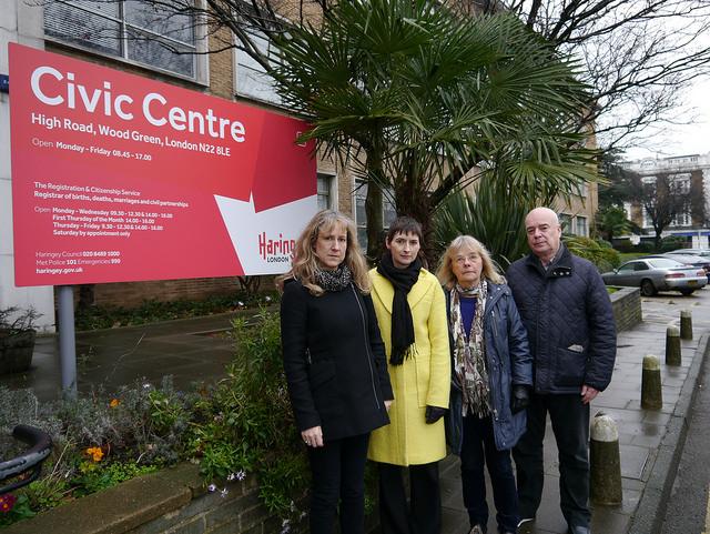 Cllr Liz Morris, Caroline Pidgeon, Cllr Gail Engert and Cllr Dave Beacham outside the Civic Centre in Wood Green
