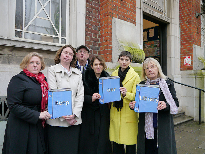 Lib Dems outside Muswell Hill Library, N10 (Dawn Barnes, Cllr Pippa Connor, Cllr Martin Newton, Cara Jenkinson, Caroline Pidgeon, Cllr Gail Engert) campaigning to save library services in the borough