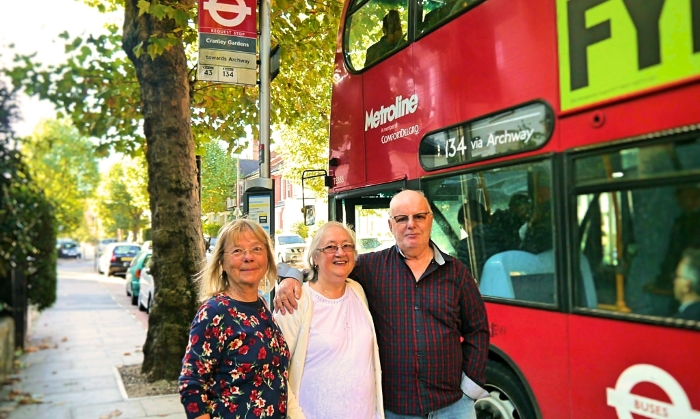 Lib Dem Cllr Gail Engert, Cranley Dene Residents Wally Austin and Doreen Austin at the new bus stop on Muswell Hill Road, N10