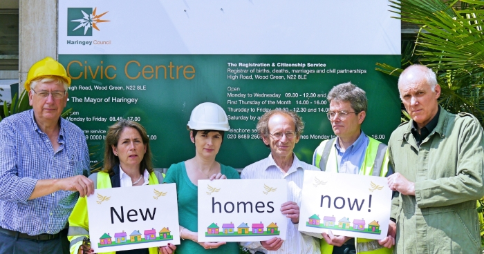 Lib Dem campaigners and councillors campaigning with Caroline Pidgeon AM for more council homes to be built