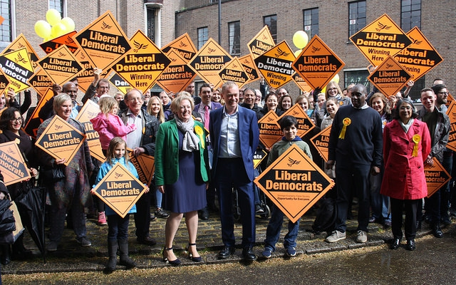 Dawn Barnes and Brian Haley greet Tim Farron