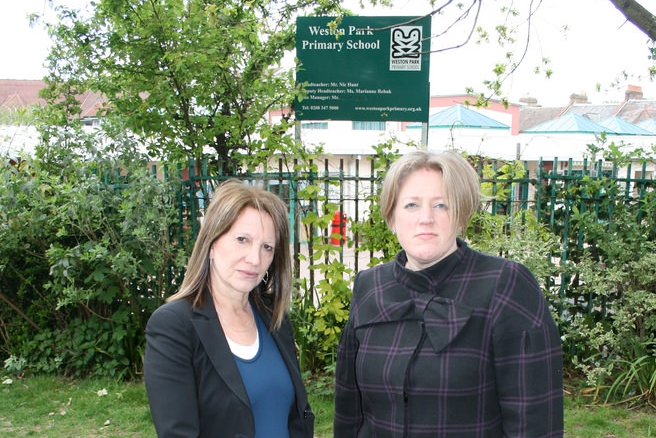 Dawn Barnes with former Lib Dem MP Lynne Featherstone outside Weston Park Primary School