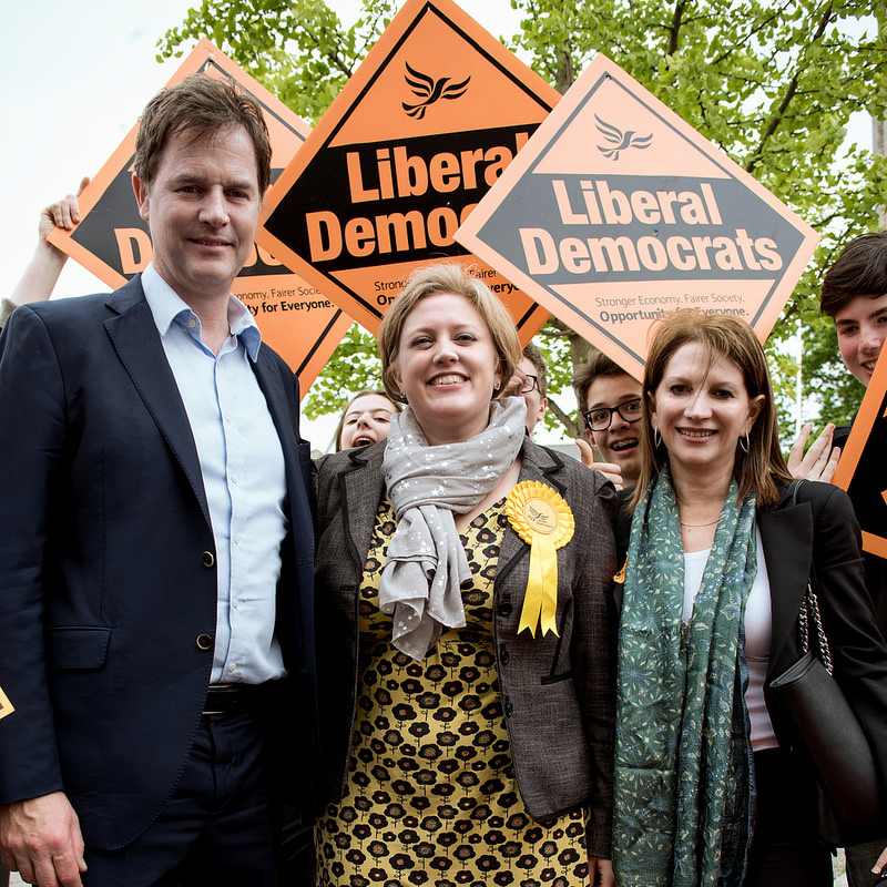 Nick Clegg with Dawn Barnes and Lynne Featherstone in Muswell Hill