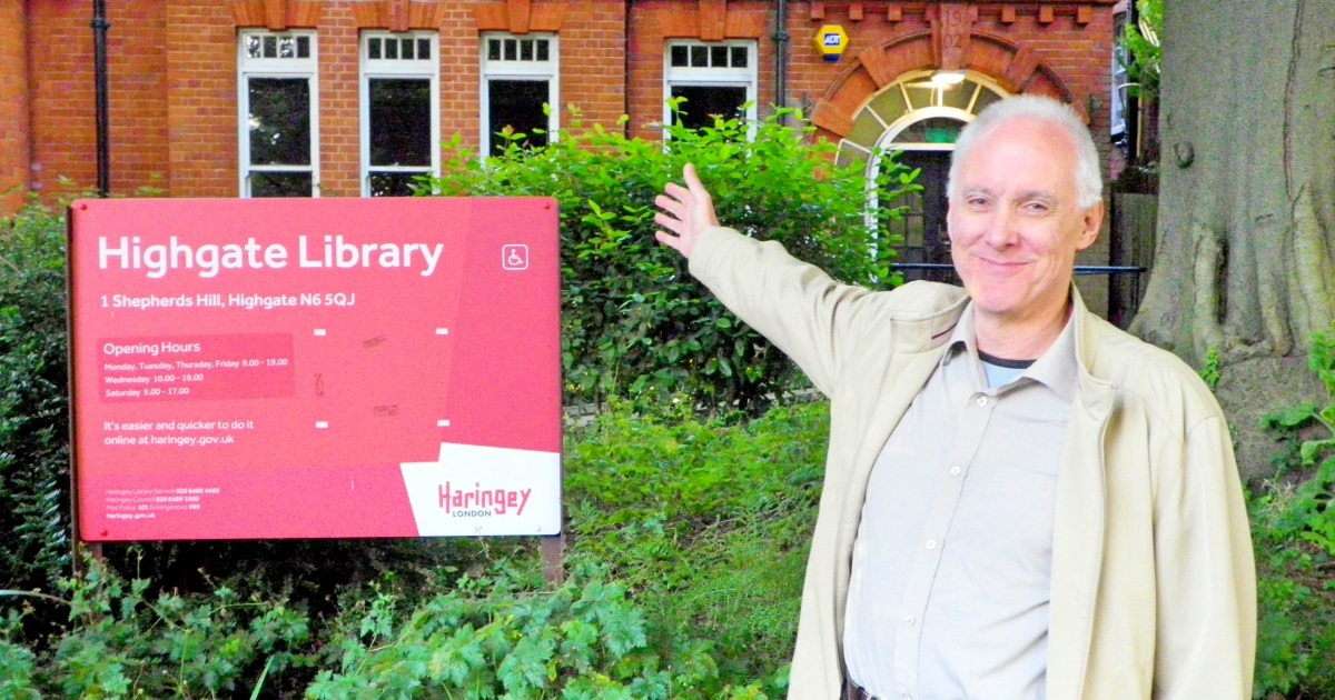 Councillor Clive Carter outside Highgate Library