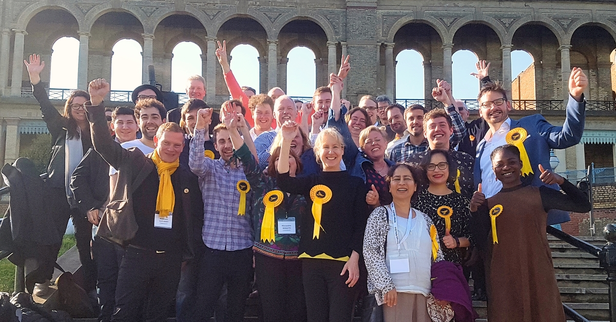 Haringey Lib Dems celebrating outside Alexandra Palace