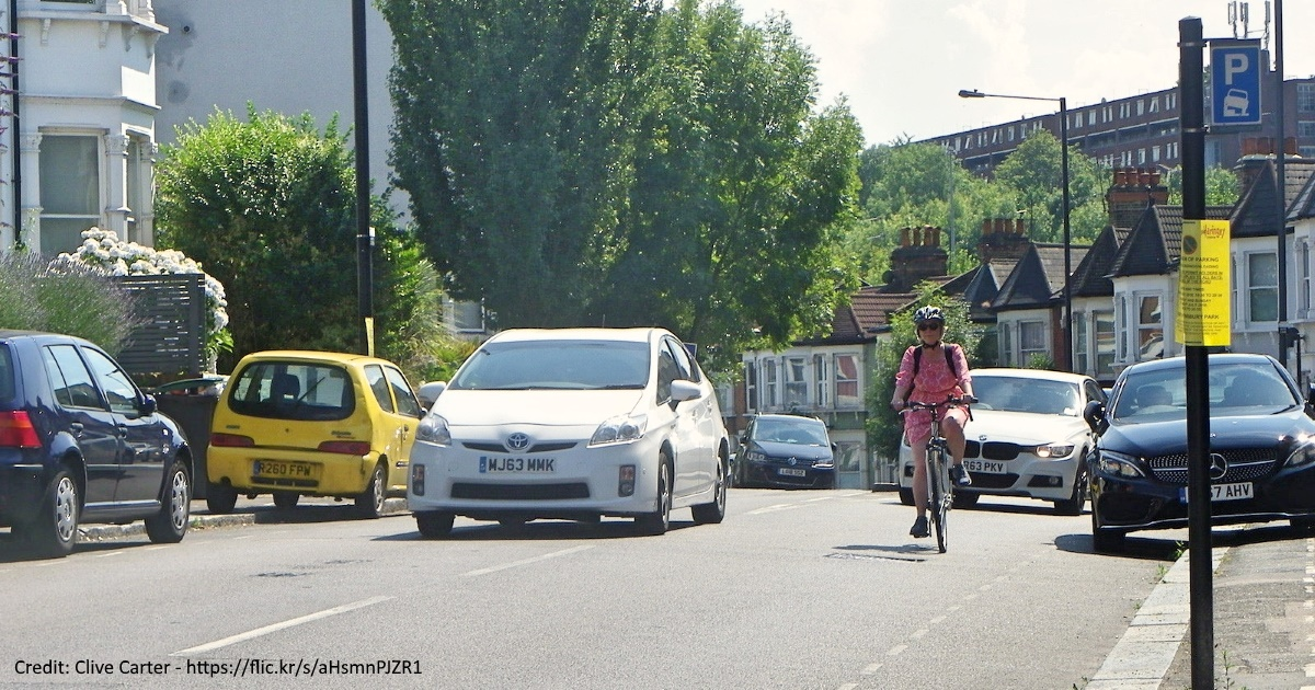 Cyclist and cars on Wightman Road, Haringey
