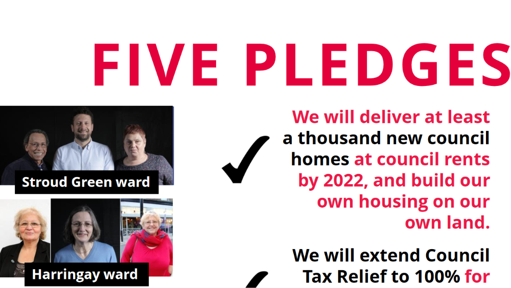 Screenshot from p.5 of the Haringey Labour manifesto for the 2018 local elections
