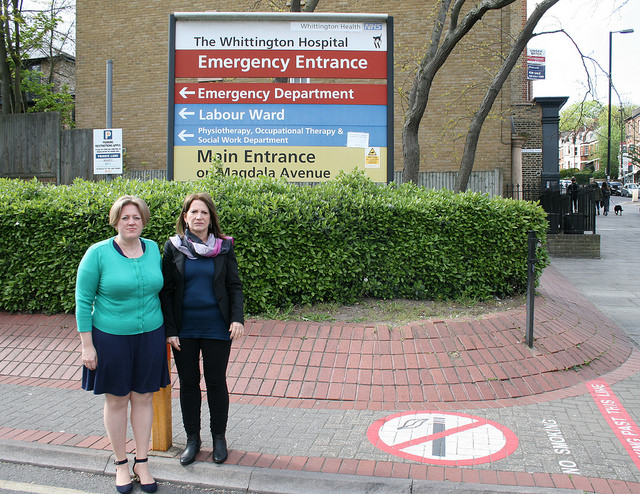 Dawn Barnes with former Lib Dem MP Lynne Featherstone outside the Whittington hospital