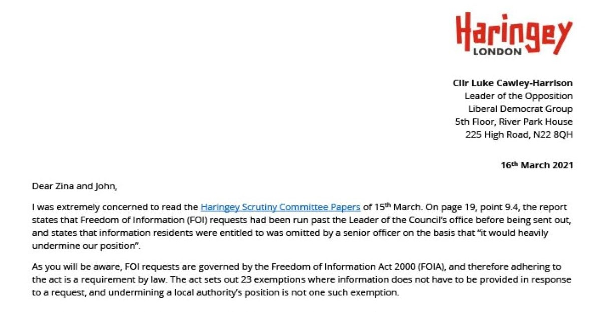 "Haringey Council ""tampering"" with FOI requests"