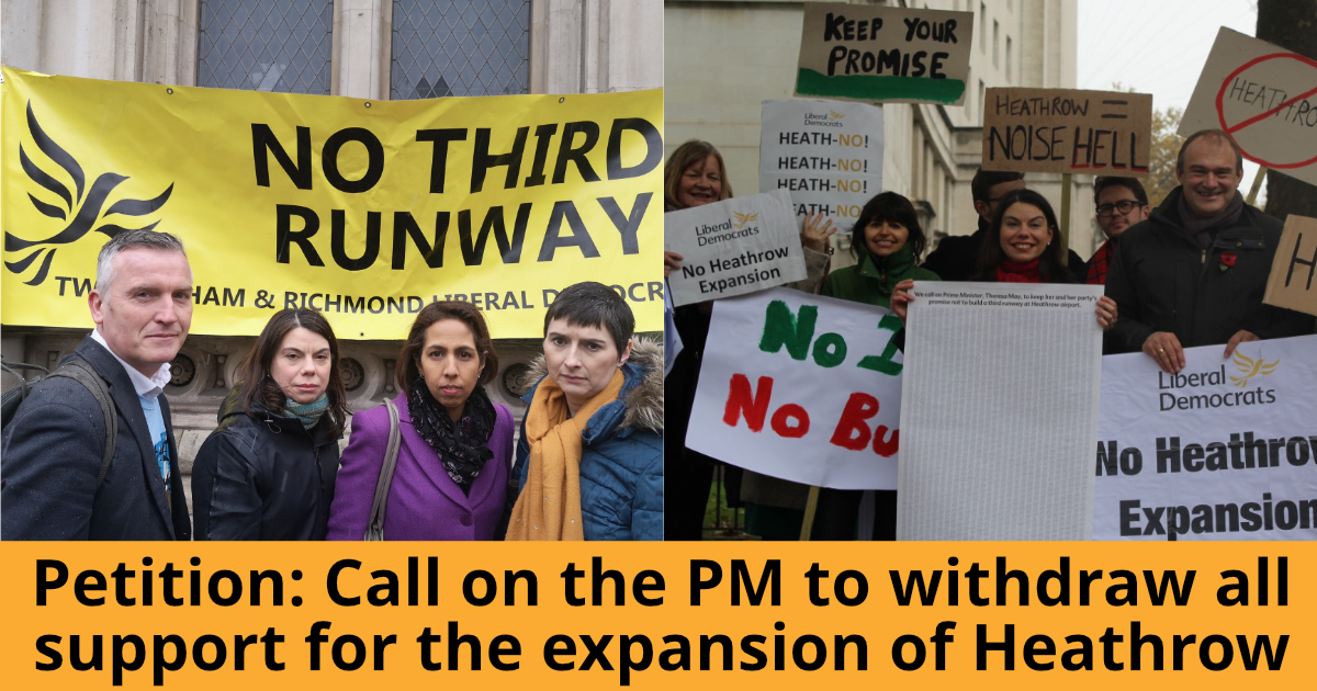 We're calling on the Conservative government to stop airport expansion