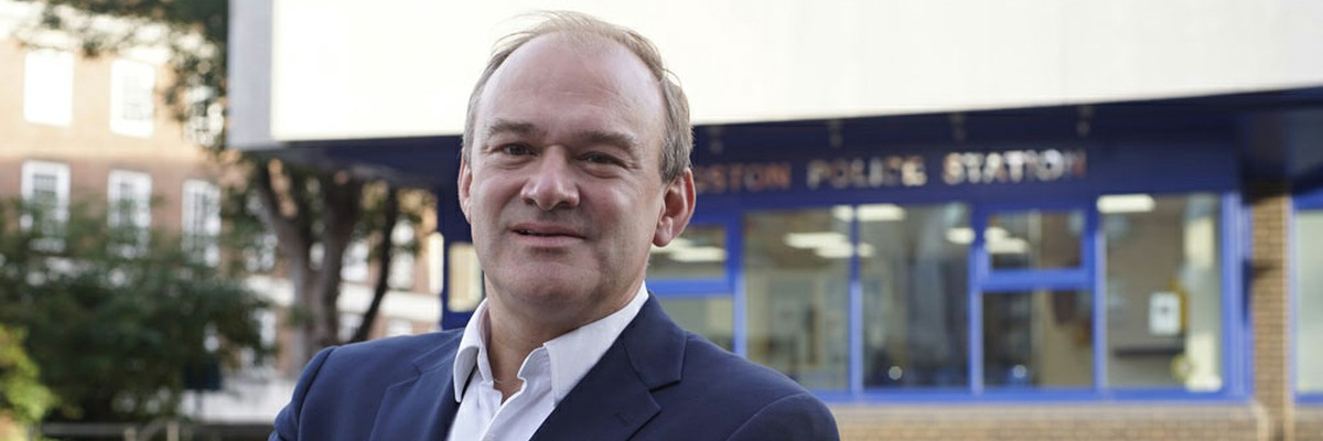 Ed Davey outside Kingston Police Station.