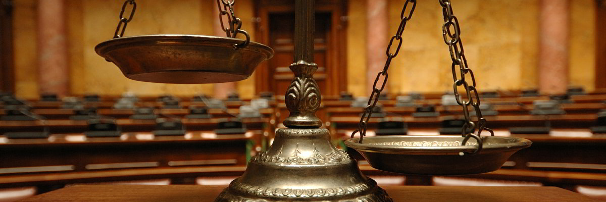 Scales of Justice in a courtroom.