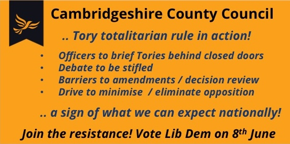 """Tory Plan to rule Cambridgeshire as a """"one party state"""""""