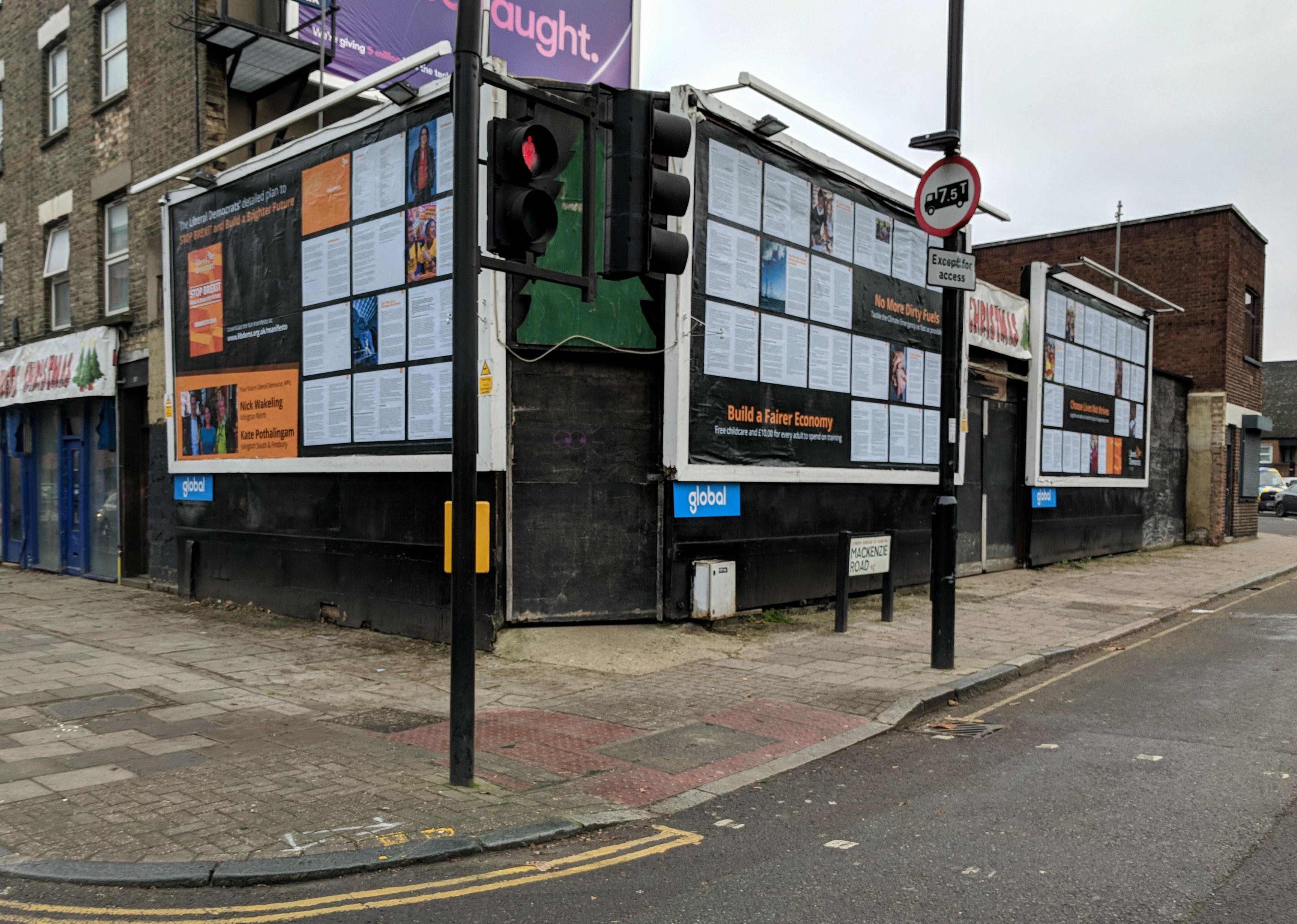 Entire Liberal Democrat manifesto blazoned on Islington billboards