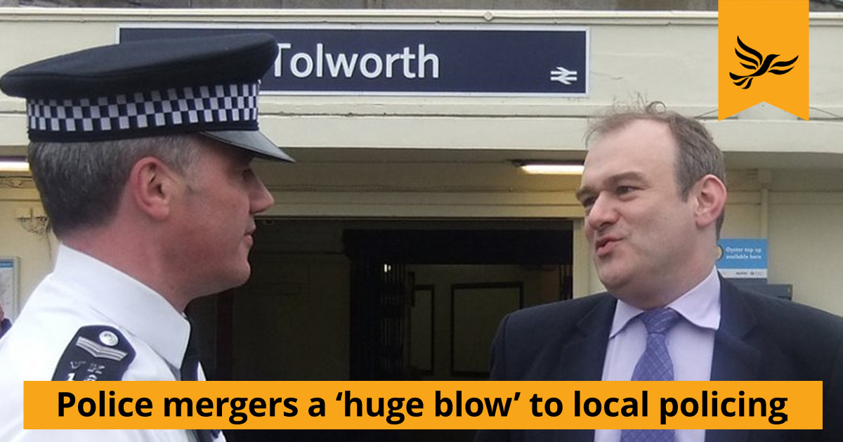 Police mergers a 'huge blow' to local policing – Ed Davey MP
