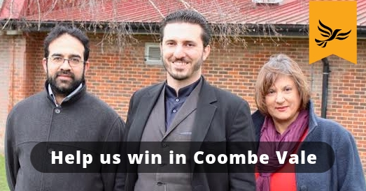 2018 Liberal Democrats candidates for Coombe Vale, Munir Ravalia, Jimmy Kent and Kim Bailey.