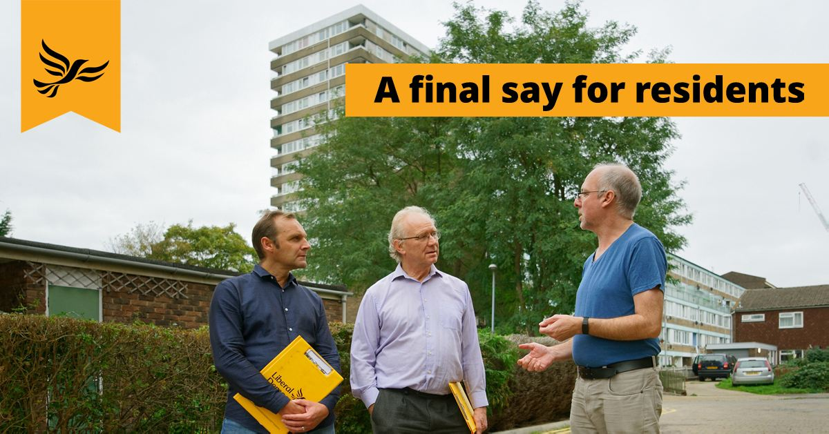Photo of Norbiton's Councillors, Dave Ryder-Mills and Olly Wehring, talking to a resident in Cambridge Road Estate.