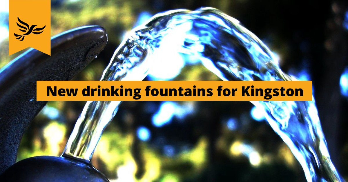 An image of a drinking fountain with a slogan saying 'New drinking fountains for Kingston'.