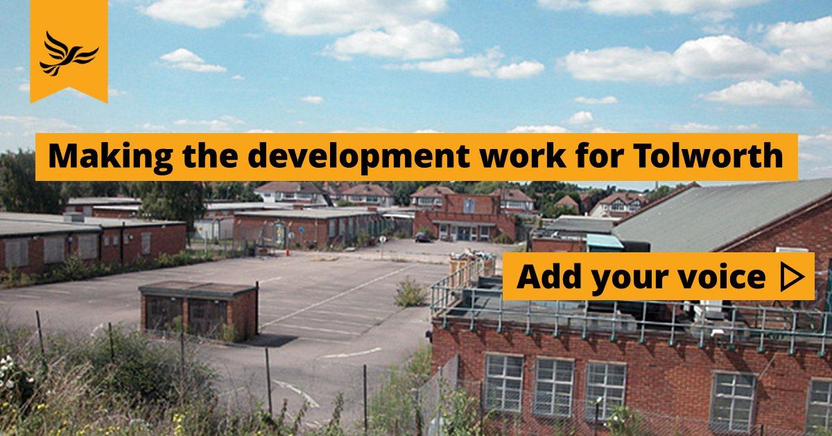 Photo of the current state of Toby Jug site with a slogan saying 'Making the development work for Tolworth' and 'Add your voice'