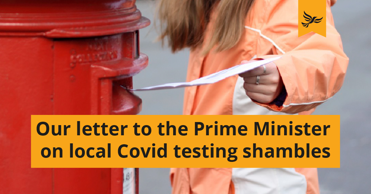 Key Local Lib Dems write to the Prime Minister over Kingston's testing shambles